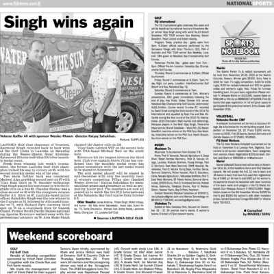 Fiji Times Singh wins Again